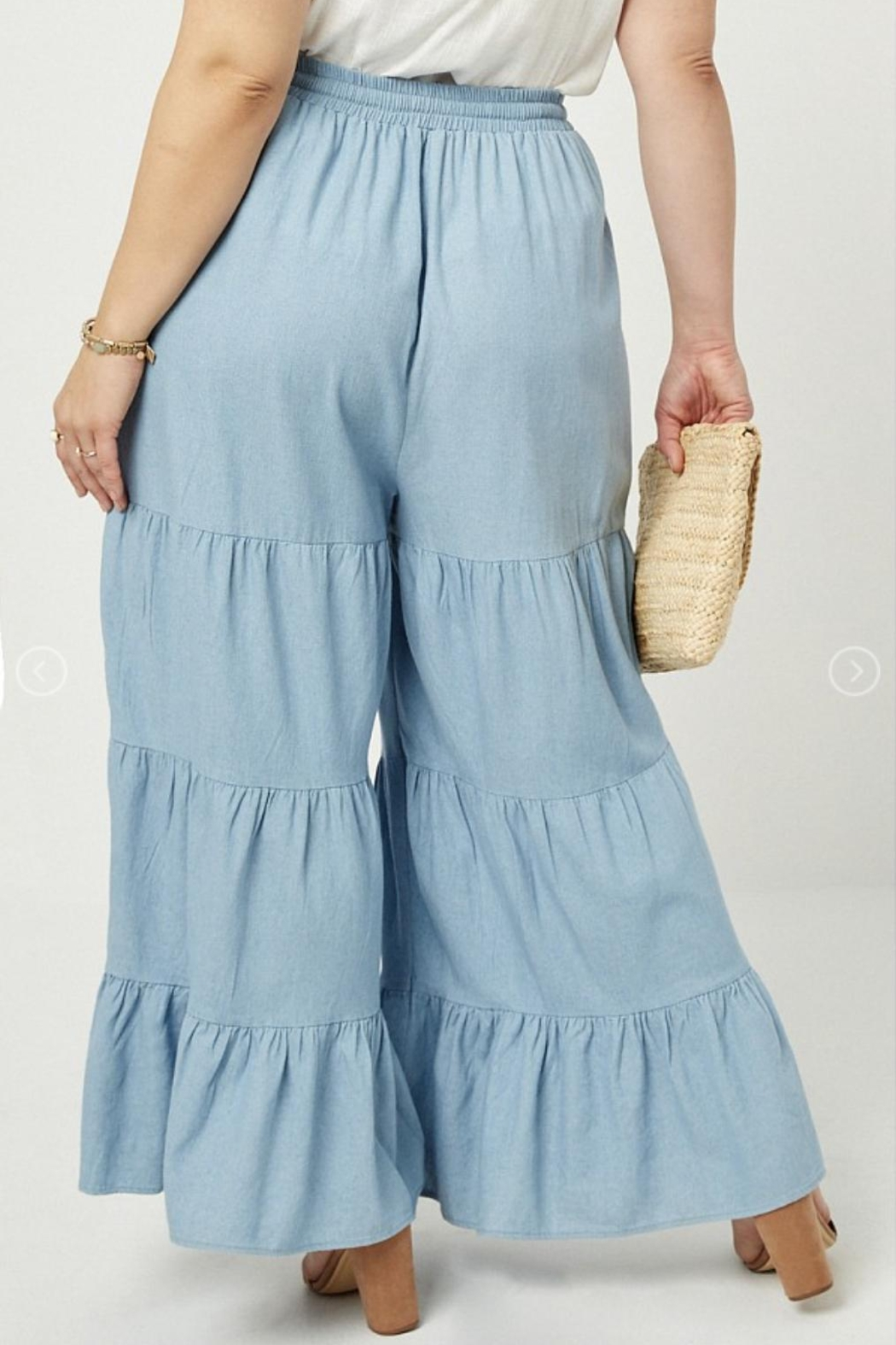 Hayden Los Angeles Chambray Wide Leg Pants - Back Cropped Image