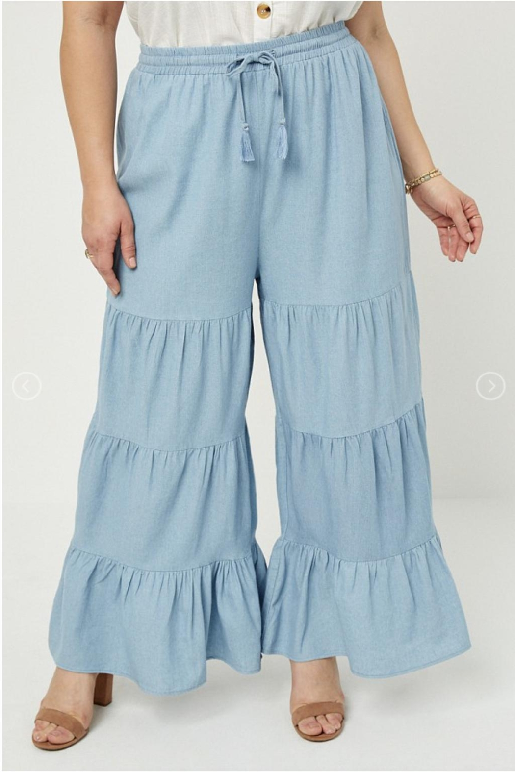Hayden Los Angeles Chambray Wide Leg Pants - Side Cropped Image