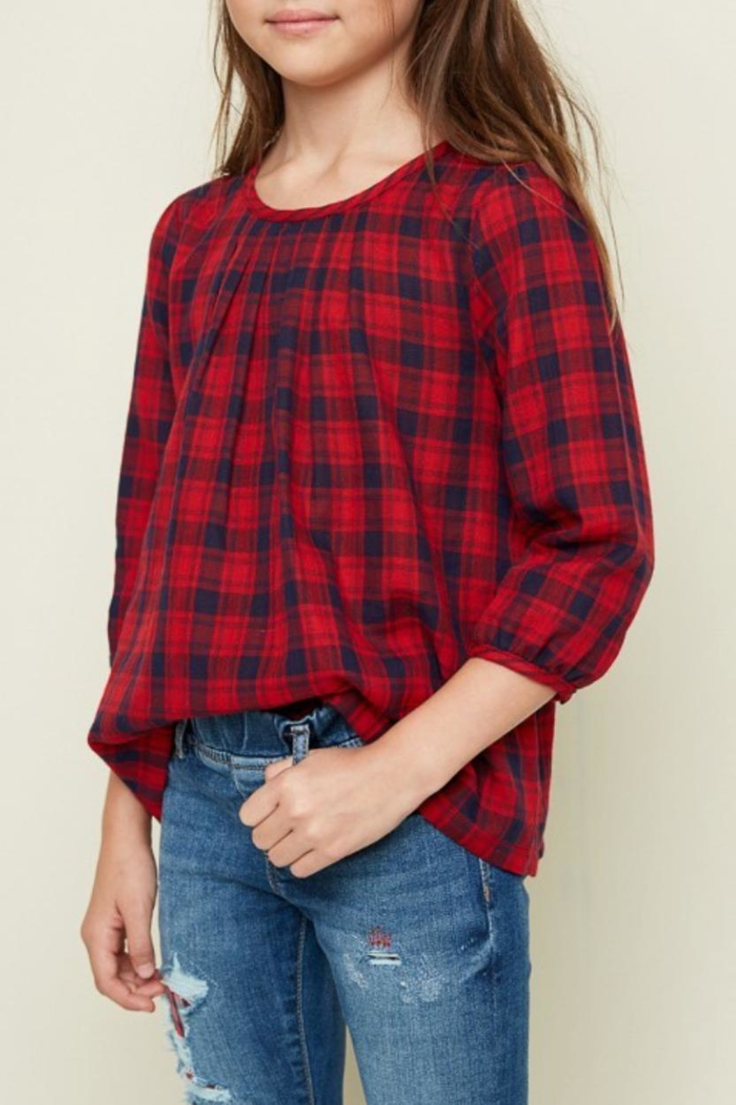 Hayden Los Angeles Classic Plaid Top - Side Cropped Image