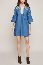 Hayden Los Angeles Denim Embroidered Dress - Front cropped