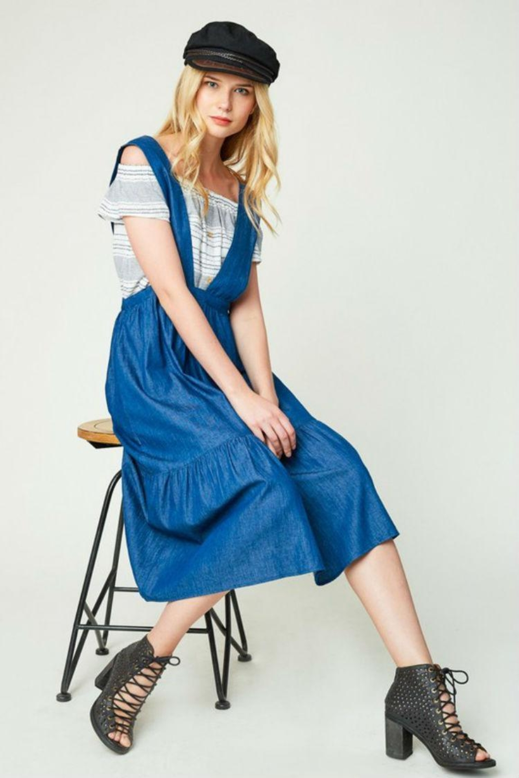 Hayden Los Angeles Denim Overall Dress - Front Full Image