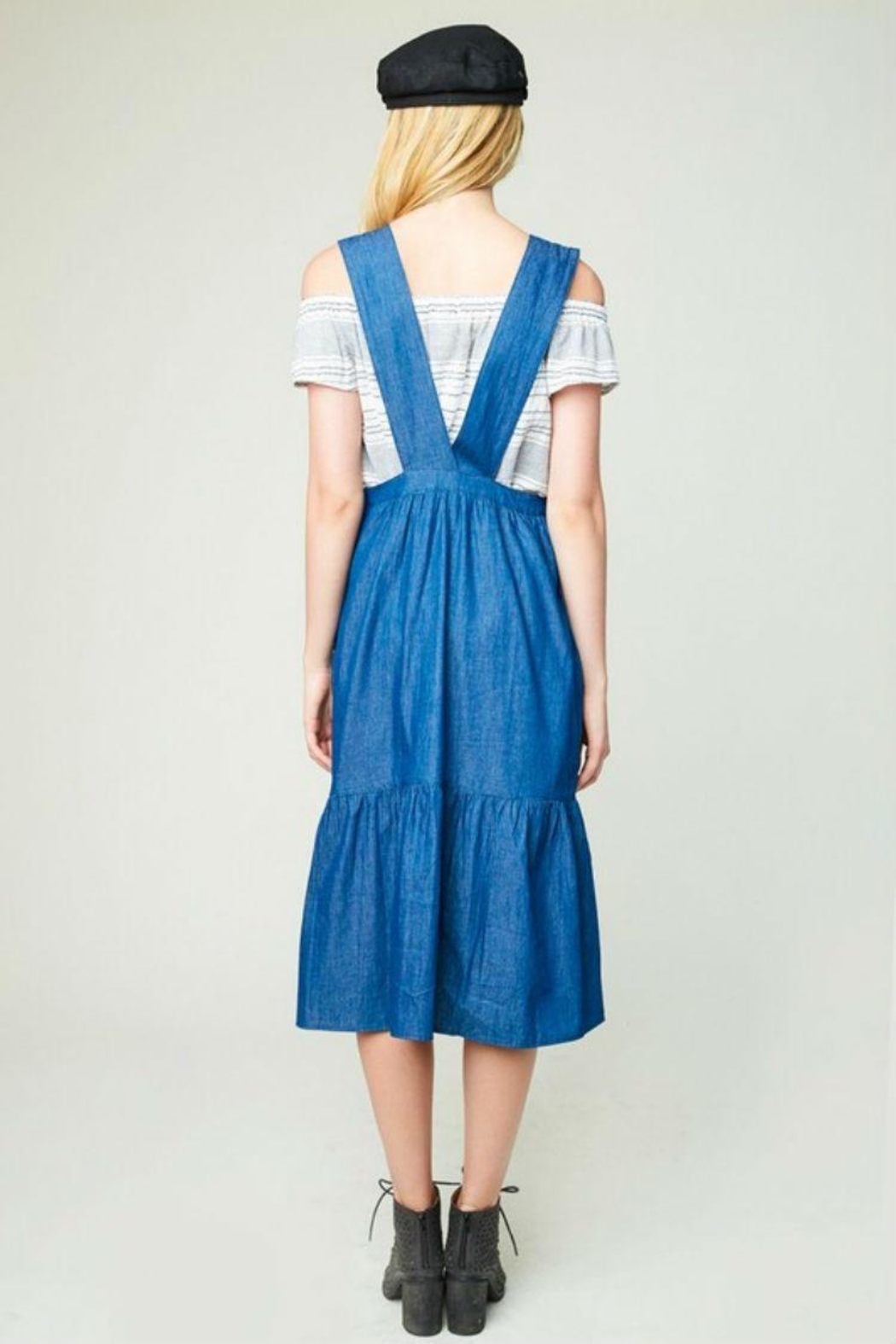 Hayden Los Angeles Denim Overall Dress - Back Cropped Image