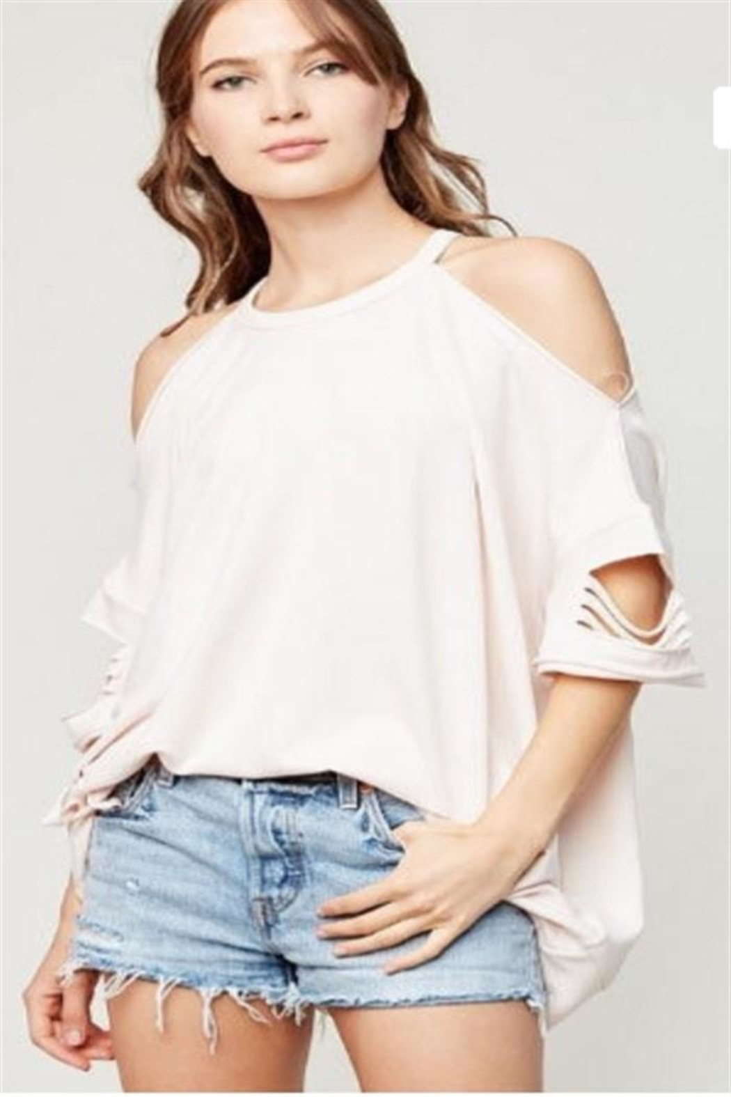 Hayden Los Angeles Distressed Oversized Top - Front Cropped Image