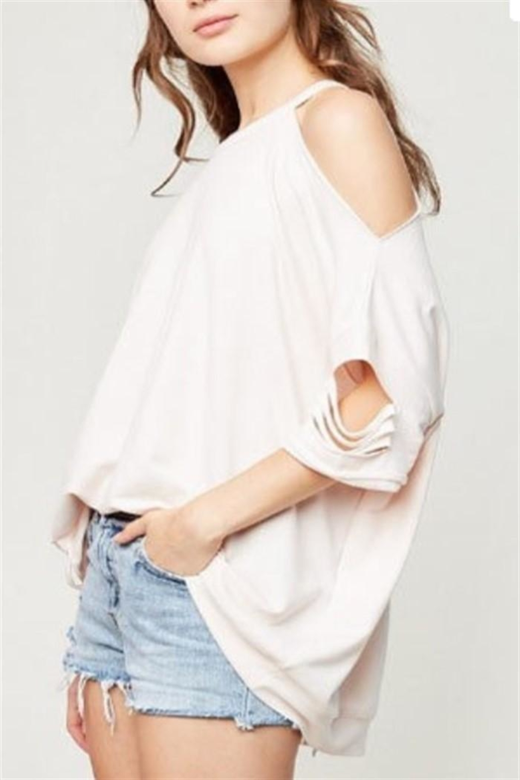 Hayden Los Angeles Distressed Oversized Top - Front Full Image