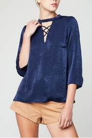 Hayden Los Angeles Draped Satin Blouse - Product Mini Image