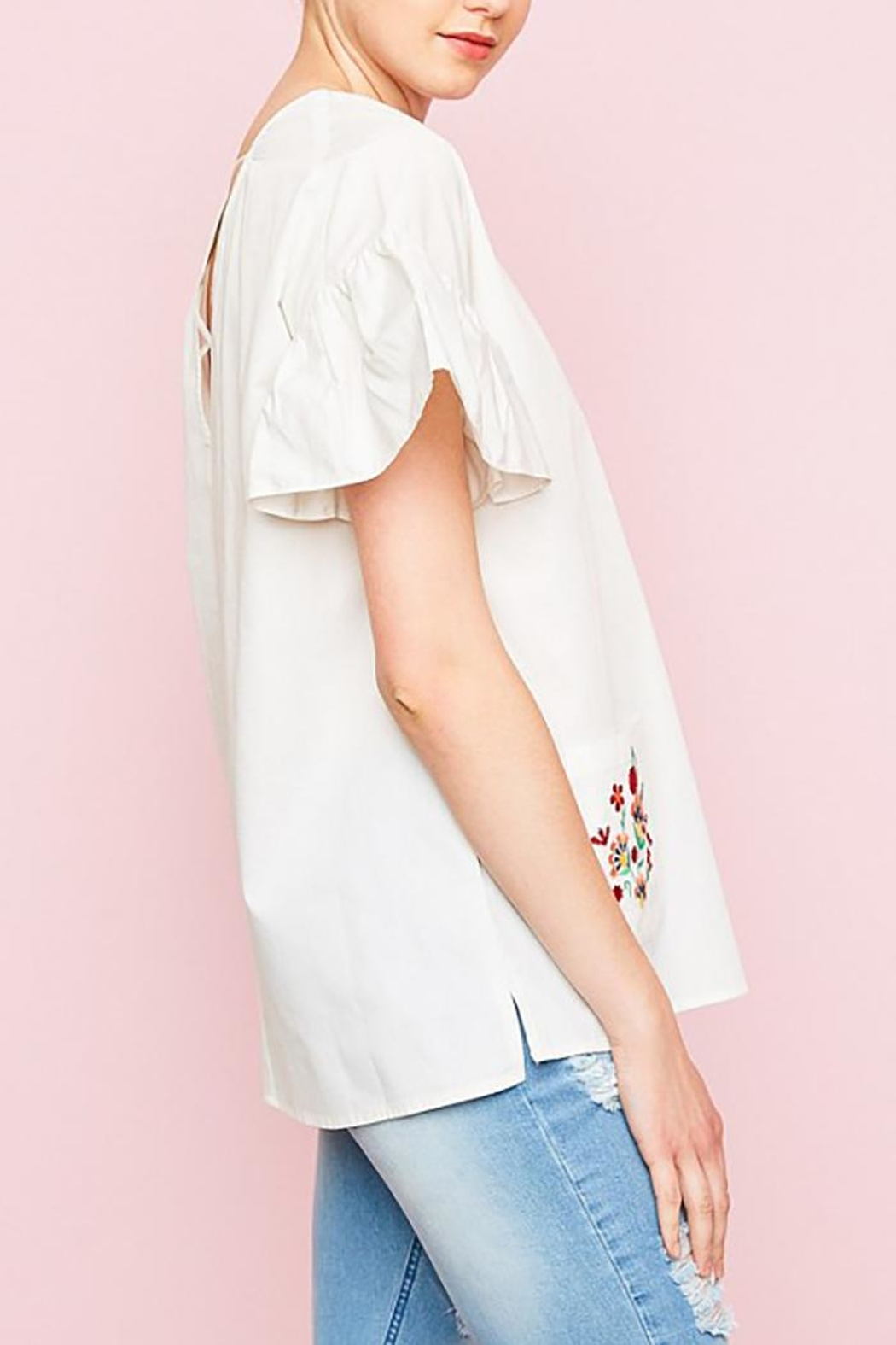 Hayden Los Angeles Embroidered Pockets Top - Back Cropped Image