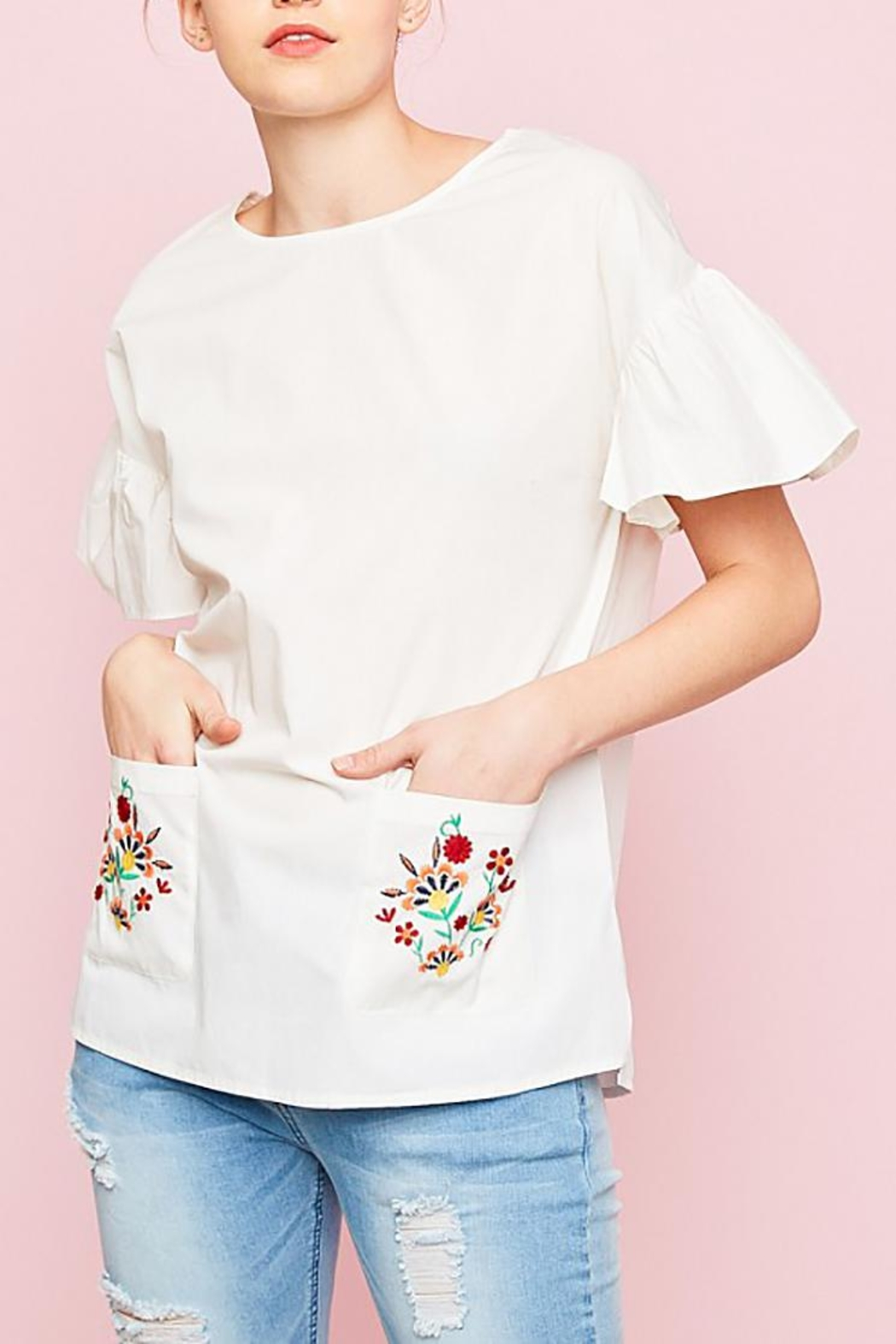 Hayden Los Angeles Embroidered Pockets Top - Main Image