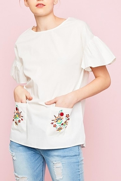 Shoptiques Product: Embroidered Pockets Top