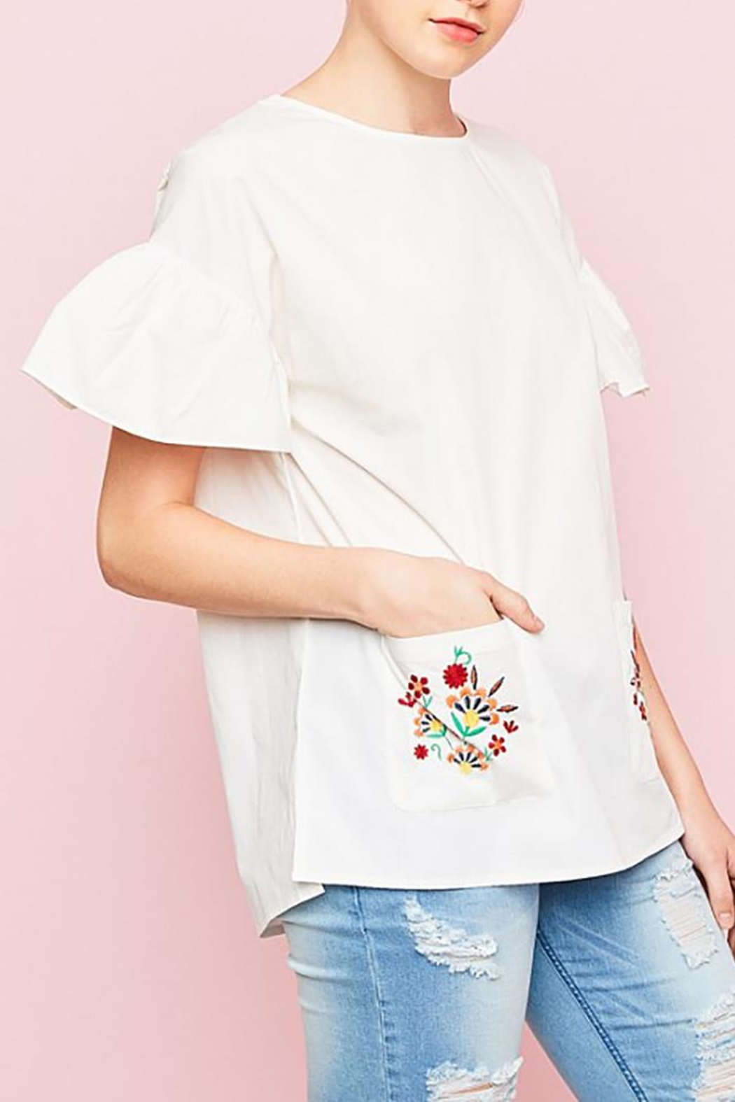 Hayden Los Angeles Embroidered Pockets Top - Side Cropped Image