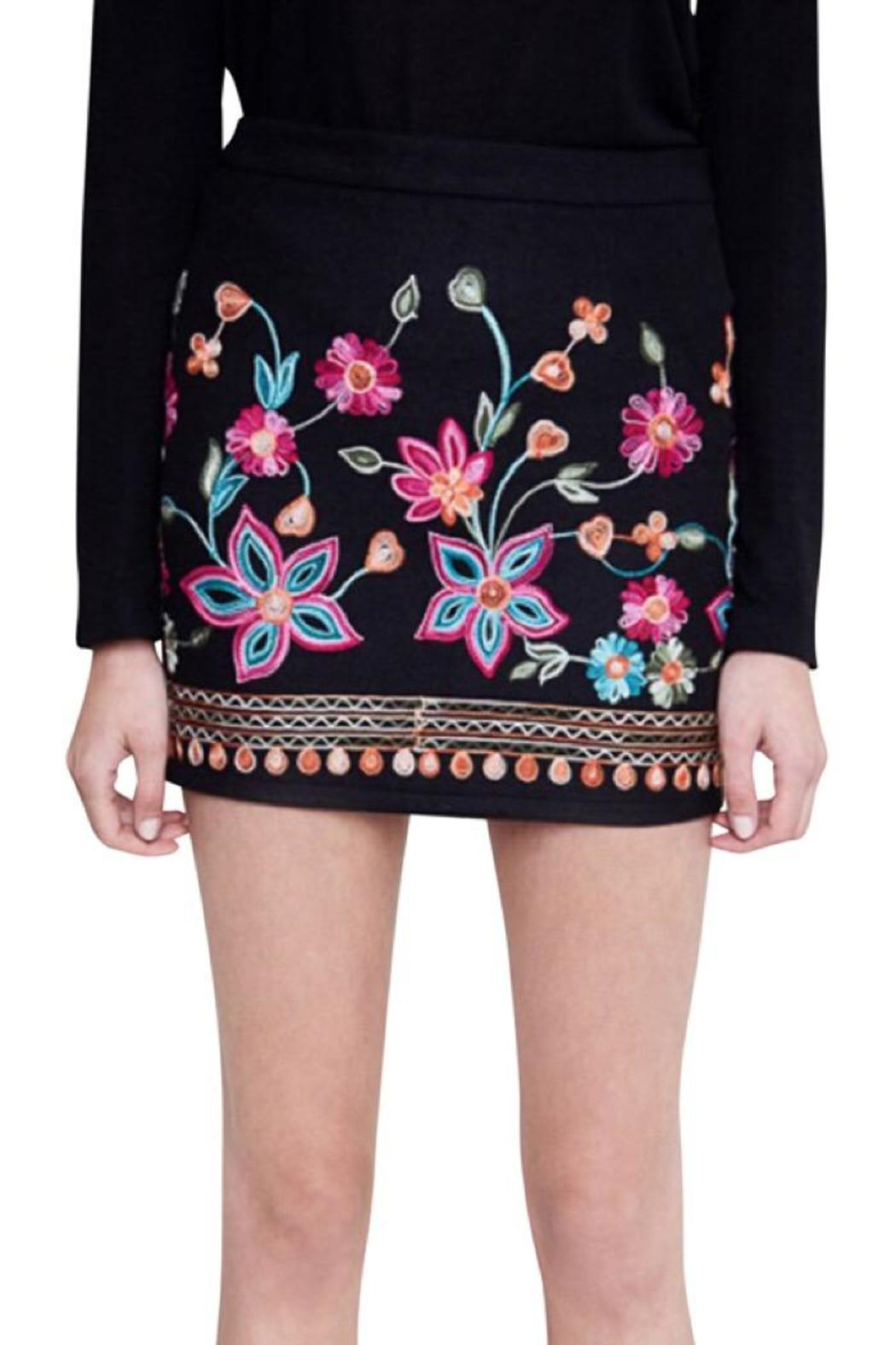 Hayden Los Angeles Embroidrered Mini Skirt - Main Image
