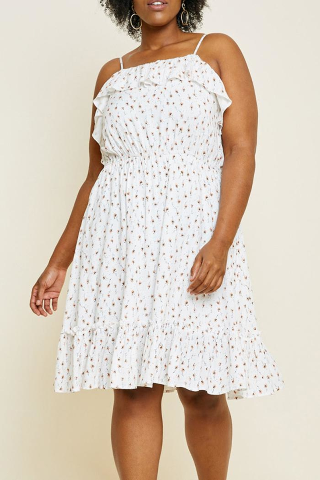 Hayden Los Angeles Floral Ruffle Dress - Front Full Image