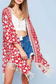 Hayden Los Angeles Flower Fringe Kimono - Product Mini Image