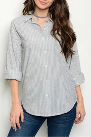 Hayden Los Angeles Gray Stripe Top - Product Mini Image