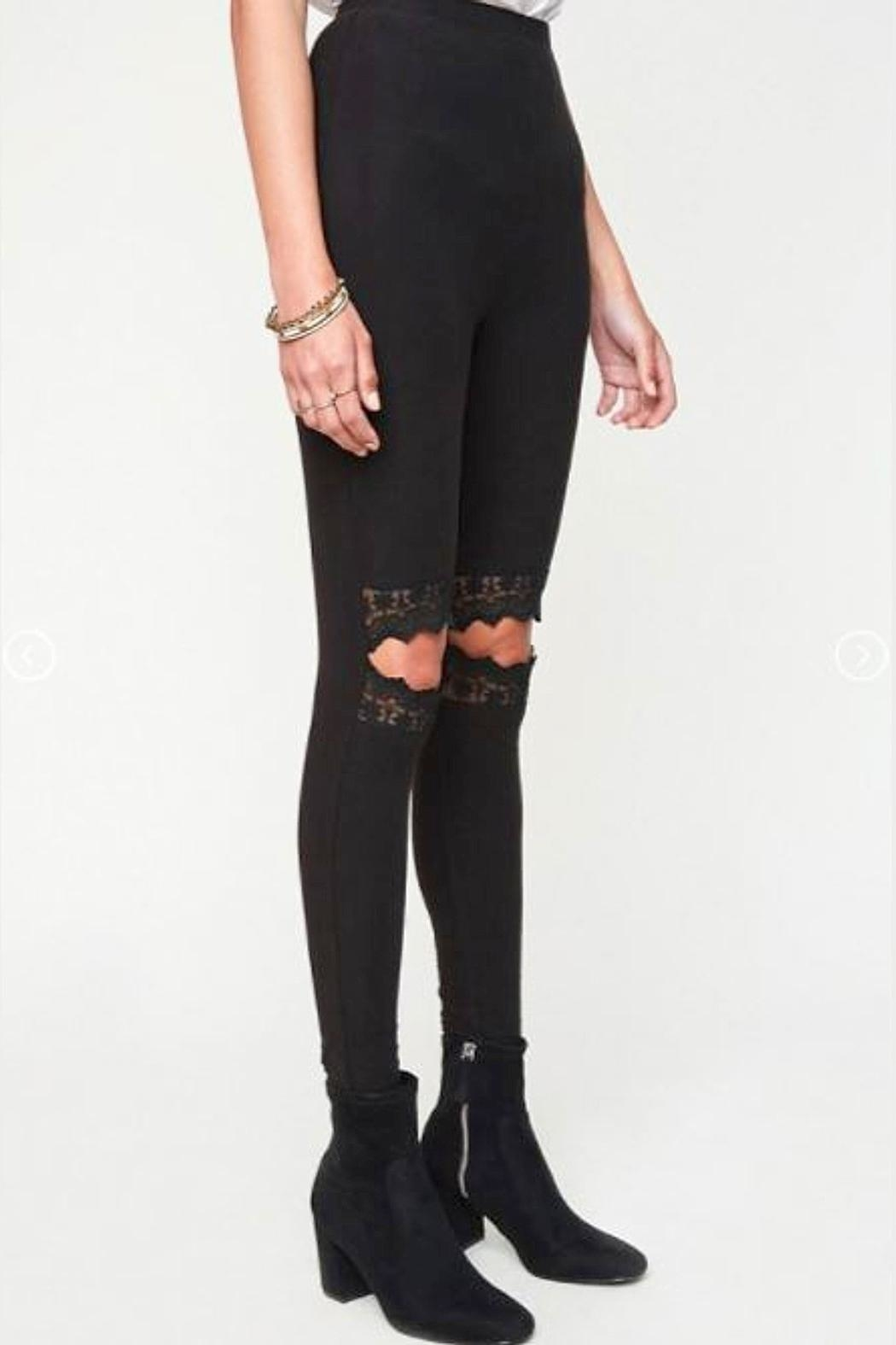 Hayden Los Angeles Lace Cut-Out Leggings - Front Full Image