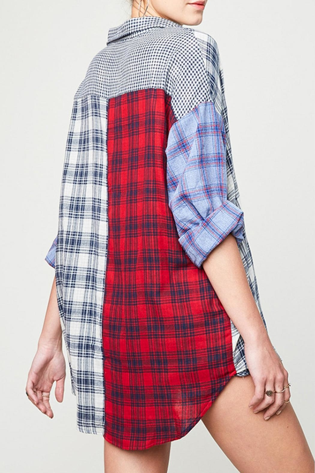 Hayden Los Angeles Mixed Plaid Shirt - Side Cropped Image