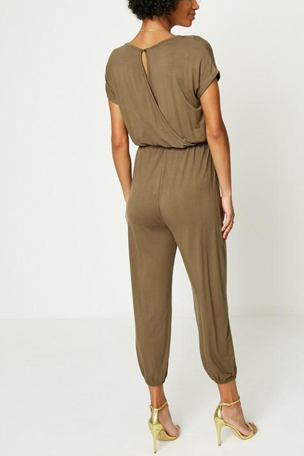 Hayden Los Angeles Olive Lounge Jumpsuit - Back Cropped Image