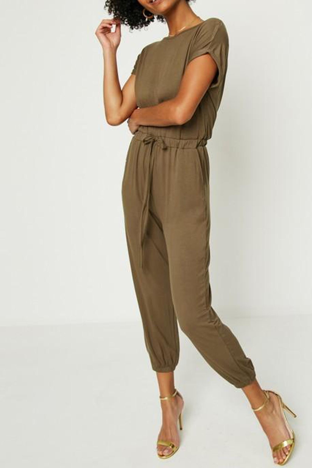 Hayden Los Angeles Olive Lounge Jumpsuit - Side Cropped Image