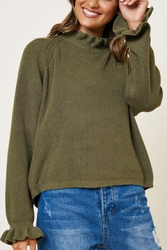 Hayden Los Angeles Olive Ruffle Neckline Knit Top - Product List Image