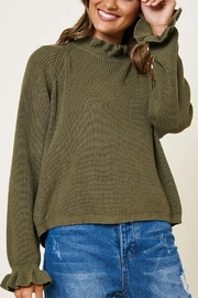 Hayden Los Angeles Olive Ruffle Neckline Knit Top - Product Mini Image