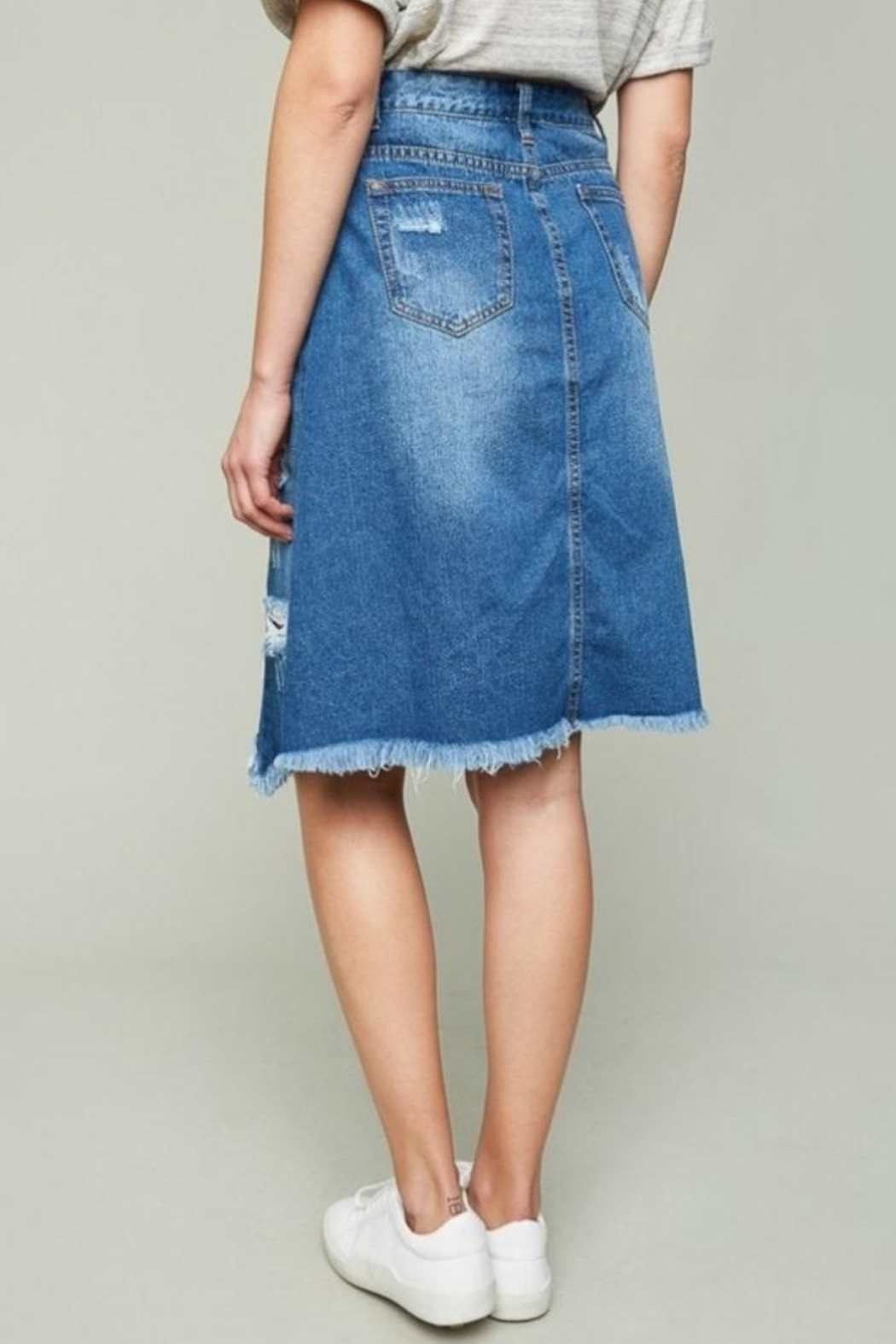 Hayden Los Angeles Patch Denim Skirt - Front Full Image