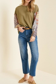Hayden Los Angeles Patchwork Sleeve Top - Front cropped
