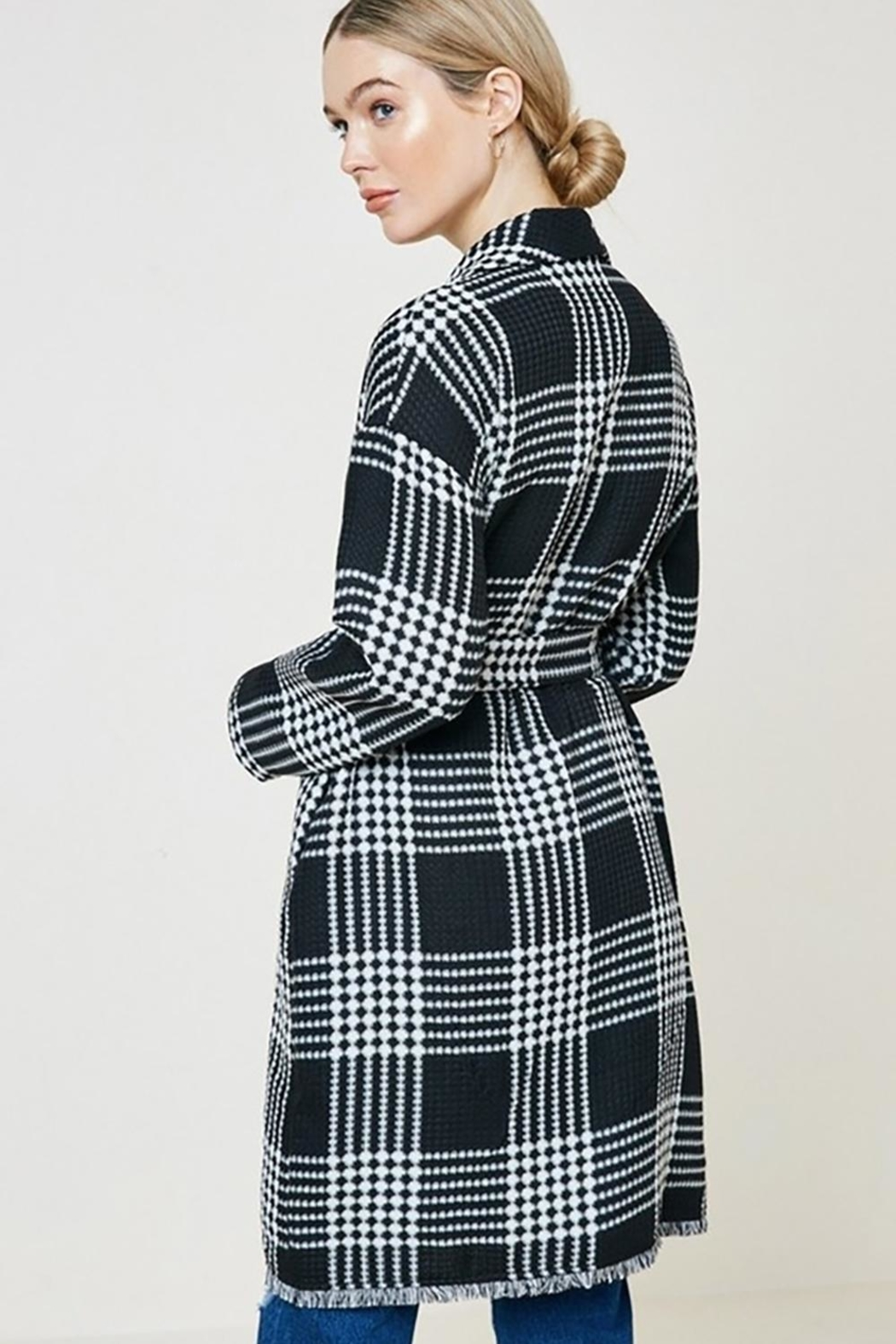 Hayden Los Angeles Plaid Knit Duster Coat - Front Full Image