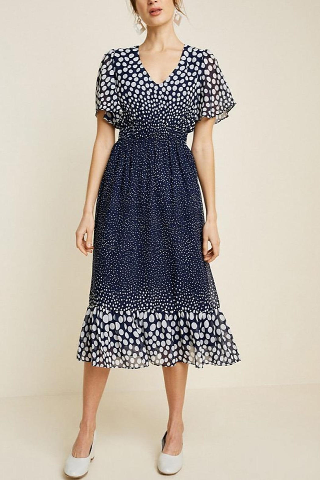 Hayden Los Angeles Print Flutter-Sleeve Midi-Dress - Front Full Image