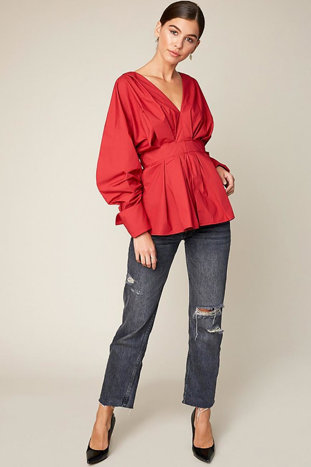 Hayden Los Angeles Ruched Peplum Top - Side Cropped Image