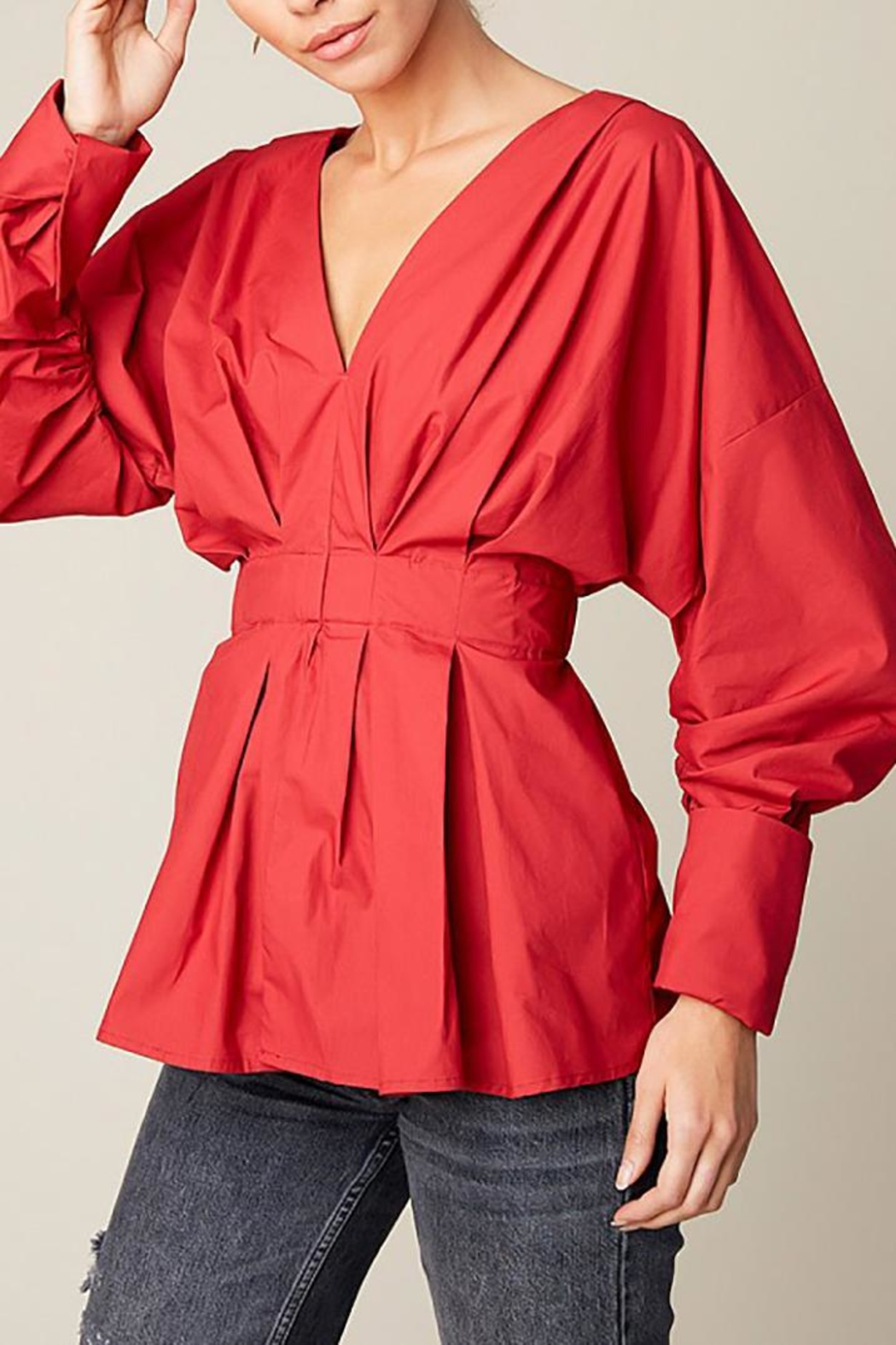 Hayden Los Angeles Ruched Peplum Top - Front Full Image