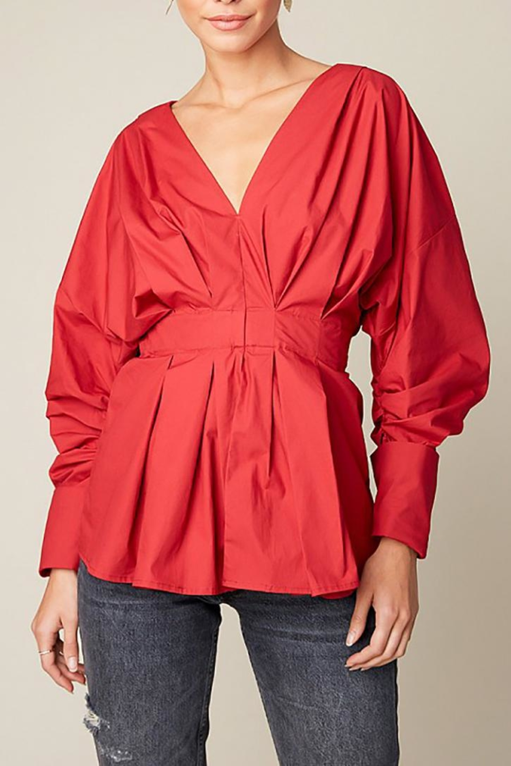 Hayden Los Angeles Ruched Peplum Top - Front Cropped Image