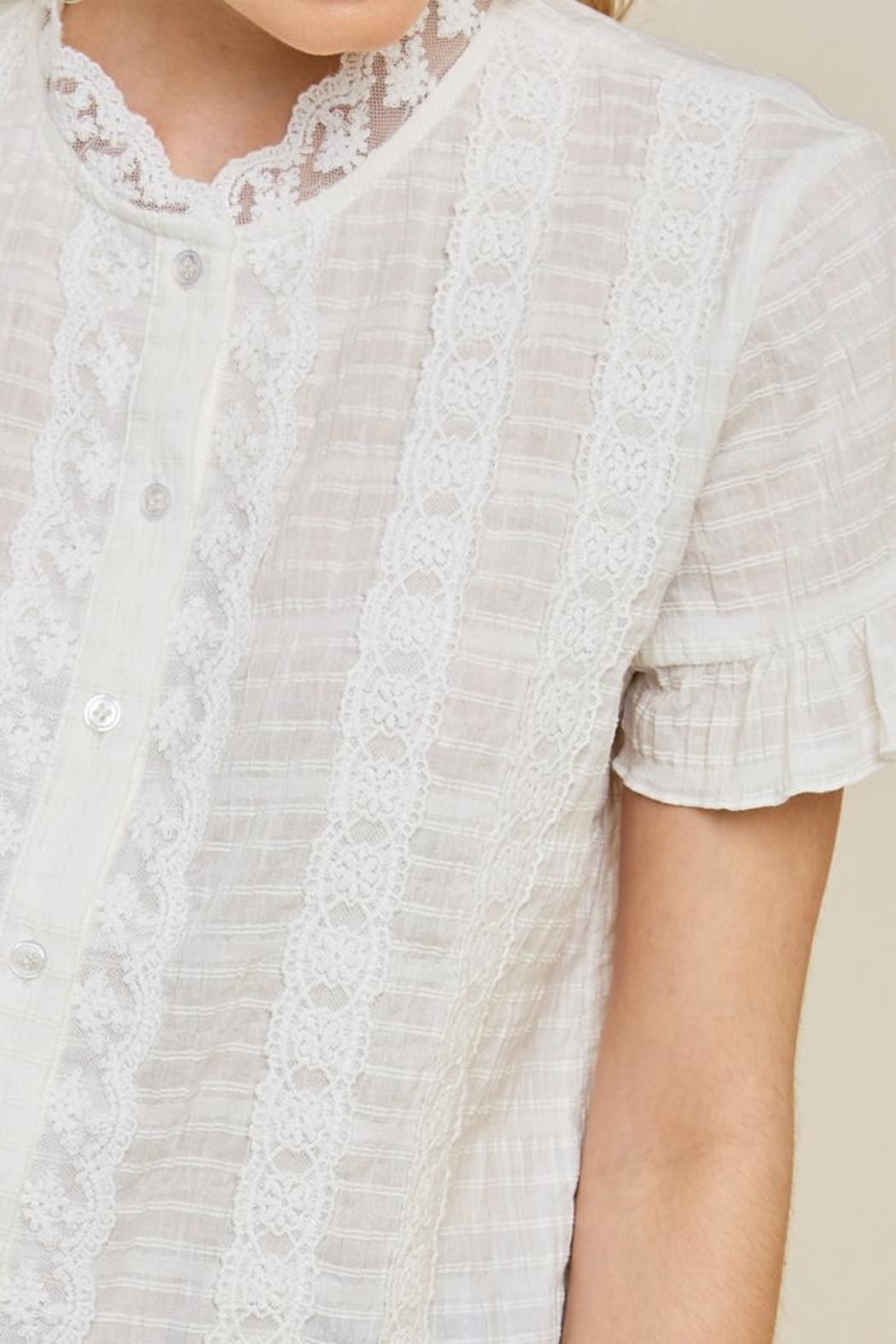 Hayden Los Angeles Ruffle Lace Blouse - Front Full Image