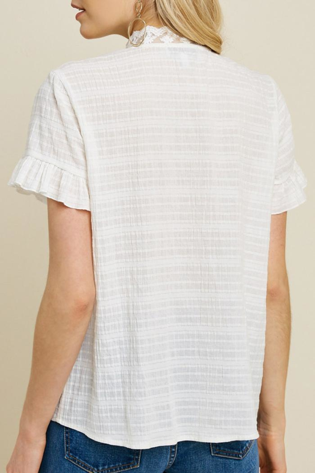 Hayden Los Angeles Ruffle Lace Blouse - Side Cropped Image
