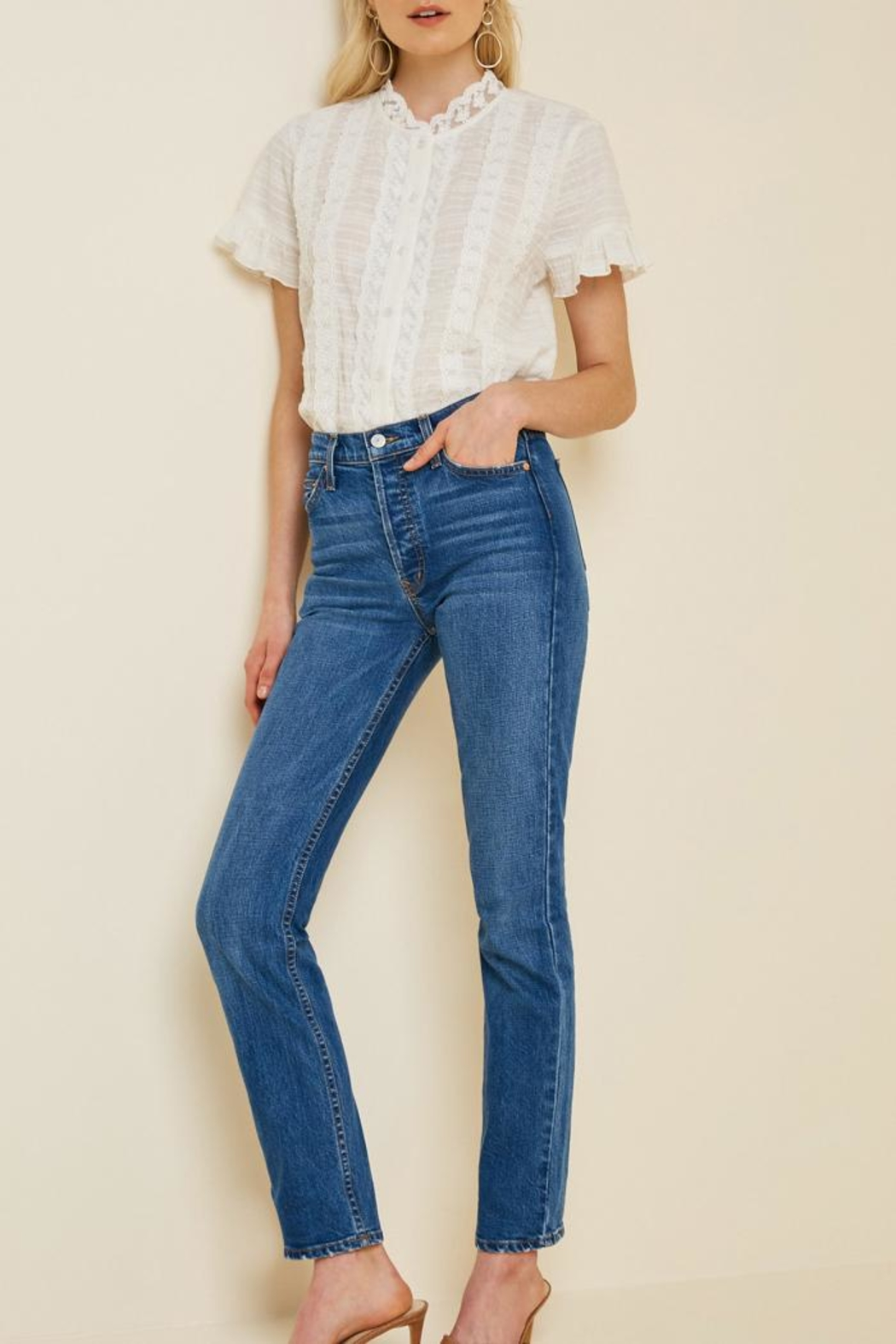 Hayden Los Angeles Ruffle Lace Blouse - Back Cropped Image