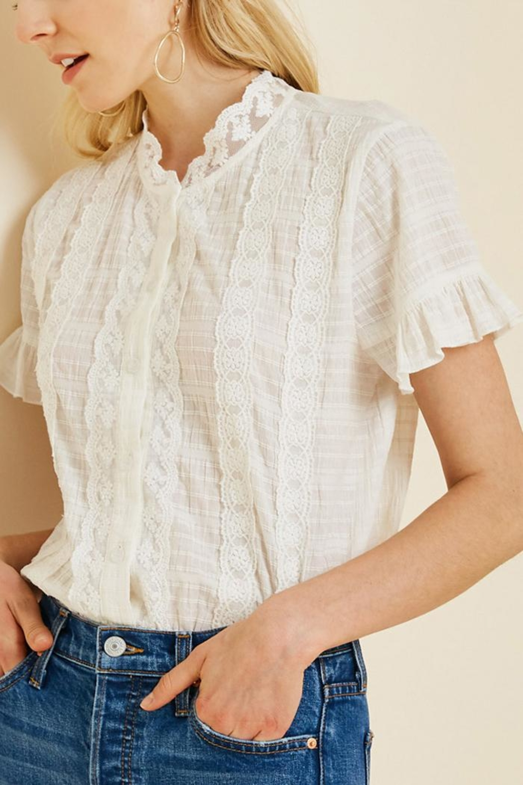 Hayden Los Angeles Ruffle Lace Blouse - Main Image