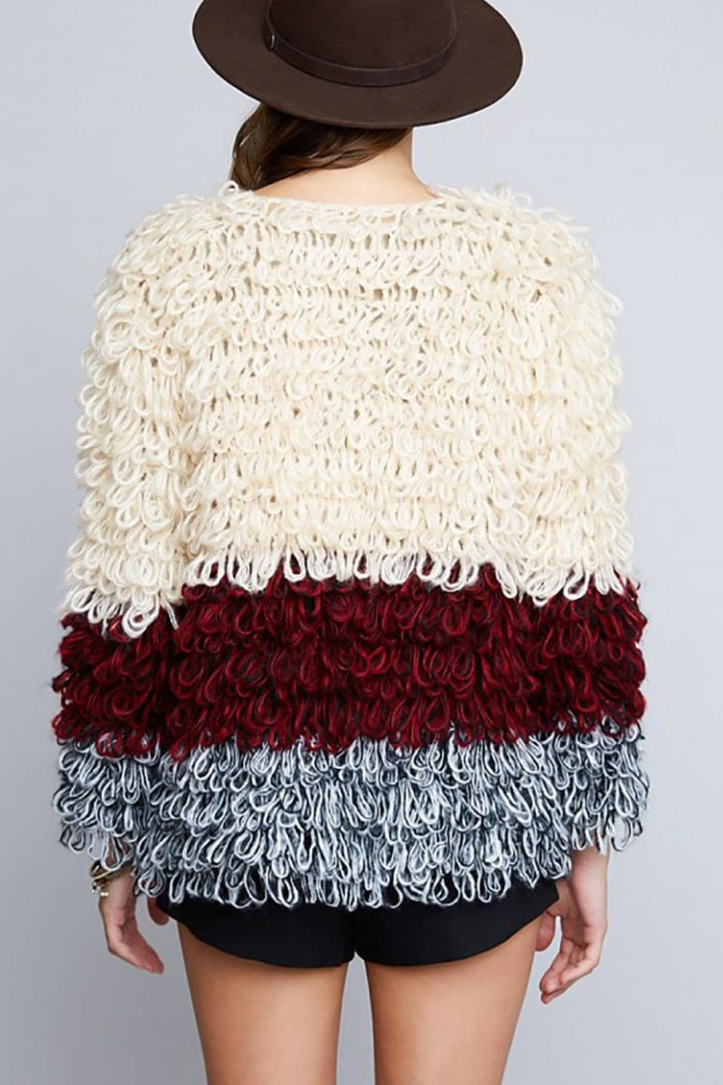 Hayden Los Angeles Shaggy Sweater Jacket - Back Cropped Image