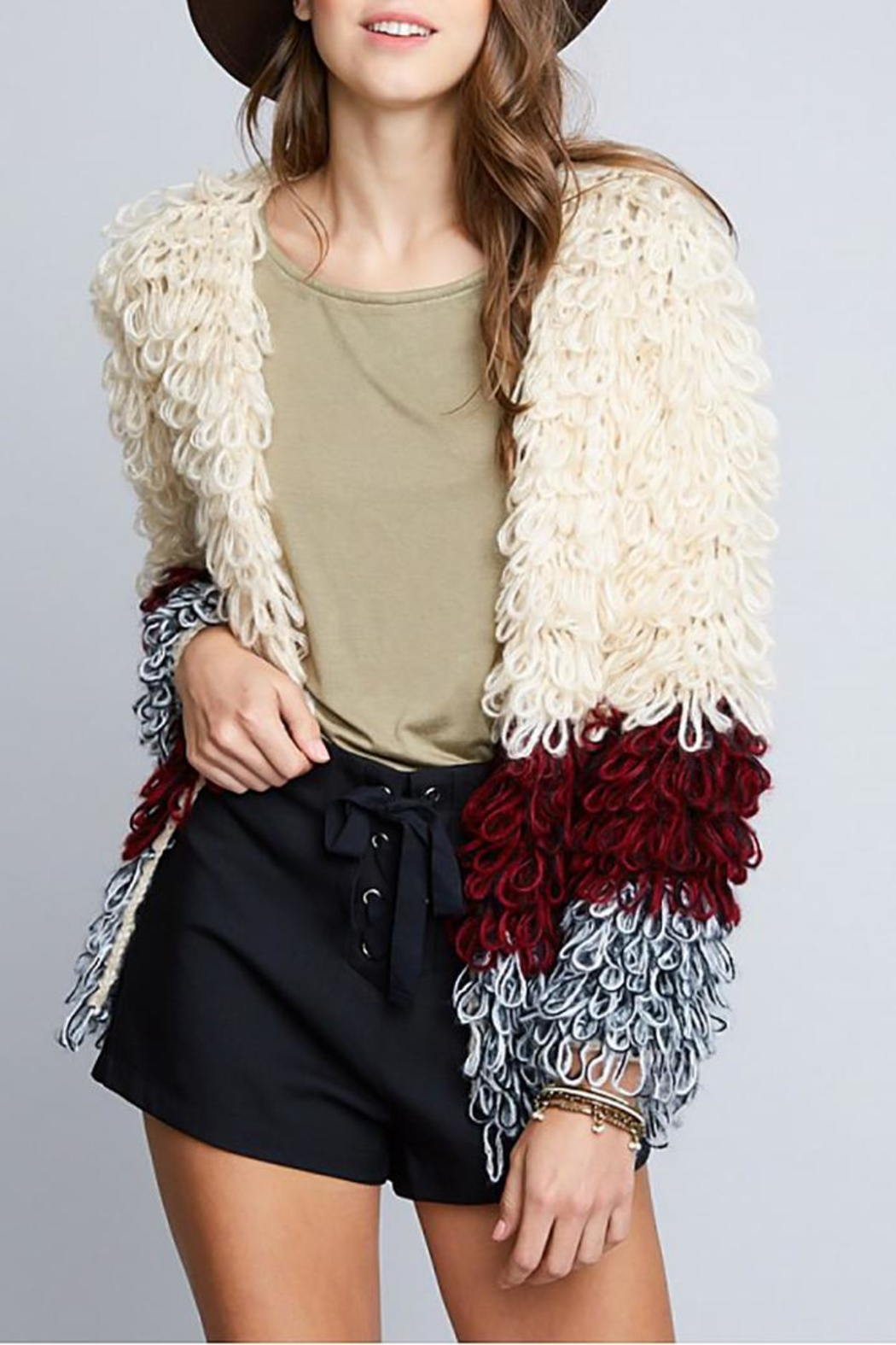 Hayden Los Angeles Shaggy Sweater Jacket - Side Cropped Image