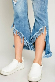 Hayden Los Angeles Shredded Hem Denim - Back cropped