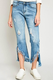 Hayden Los Angeles Shredded Hem Denim - Front full body