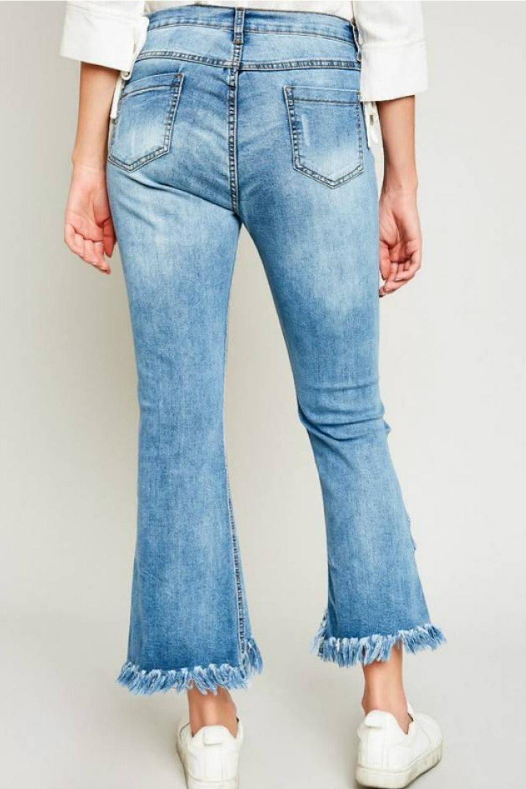 Hayden Los Angeles Shredded Hem Denim - Side Cropped Image