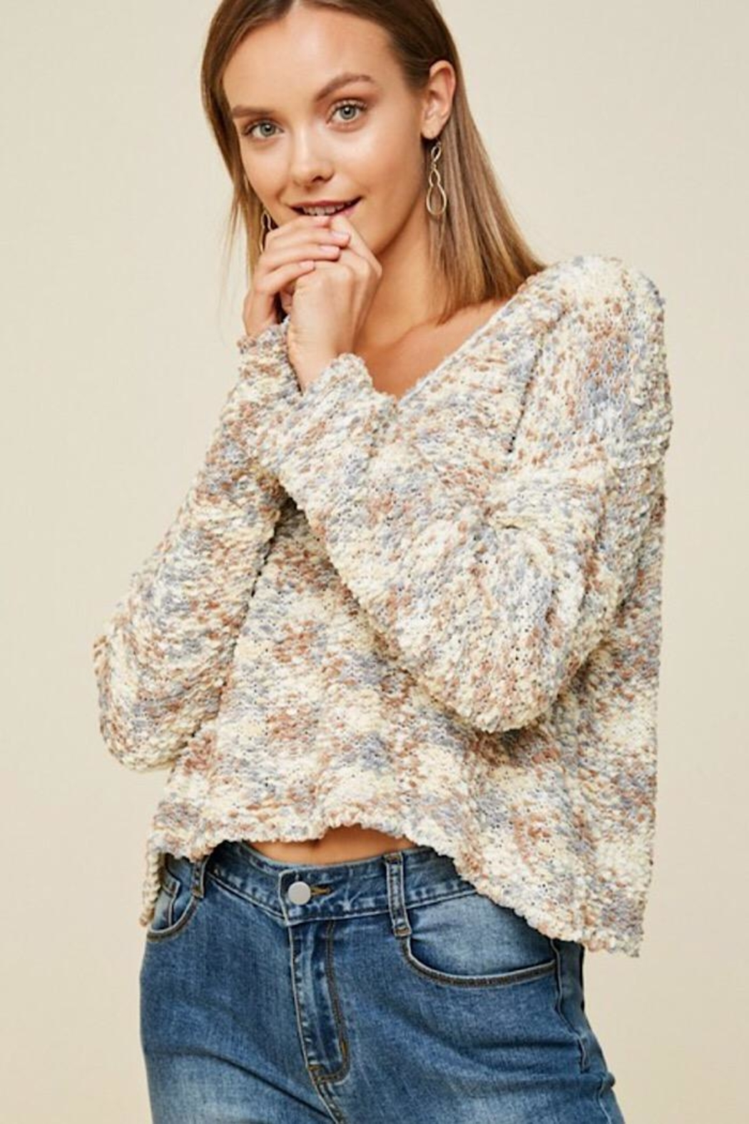 Hayden Los Angeles Textured Cropped Sweater - Main Image