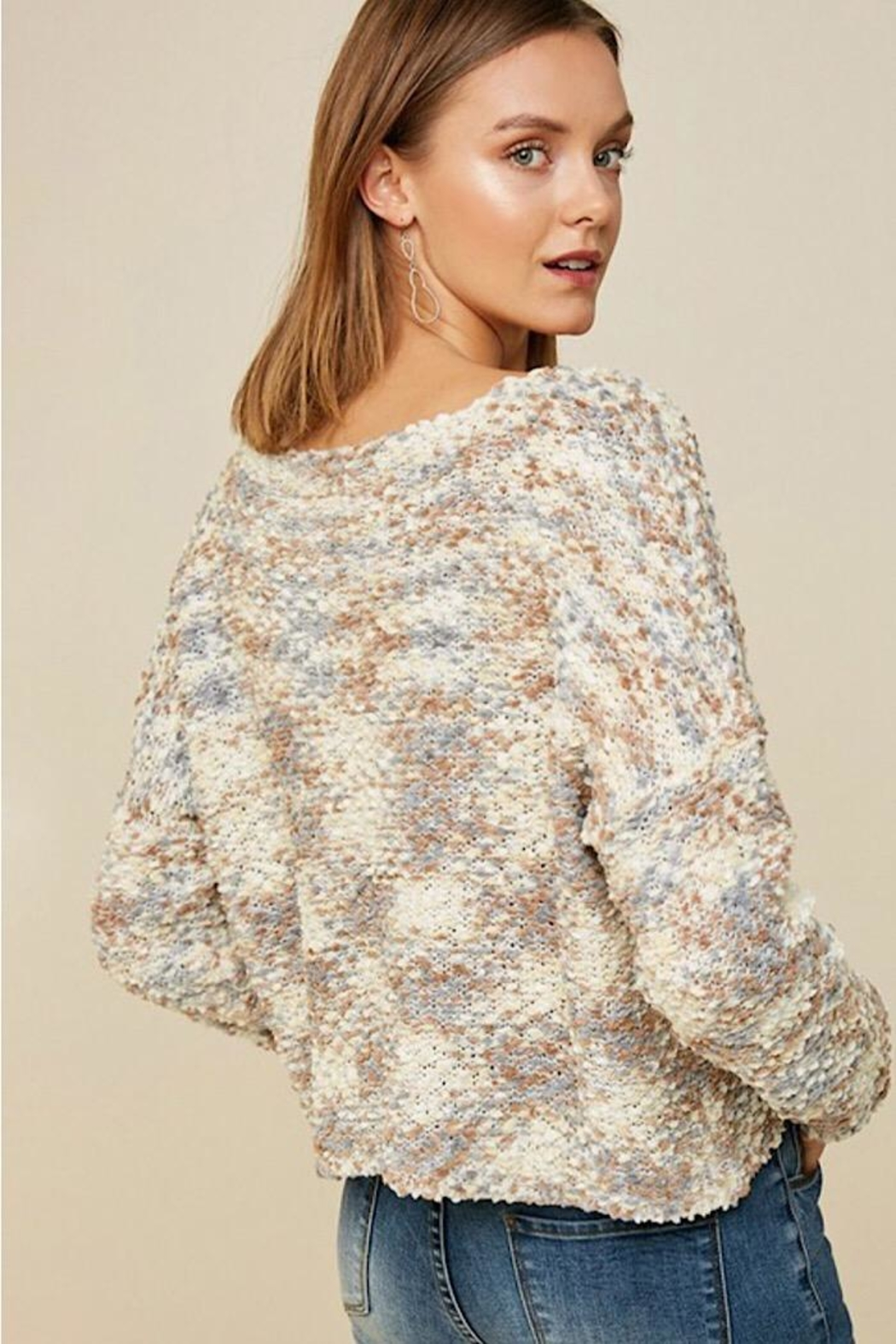 Hayden Los Angeles Textured Cropped Sweater - Side Cropped Image