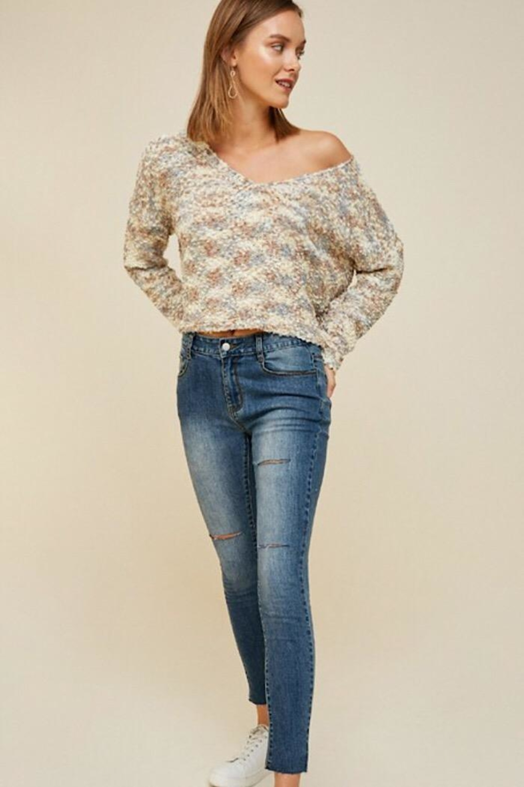 Hayden Los Angeles Textured Cropped Sweater - Front Full Image
