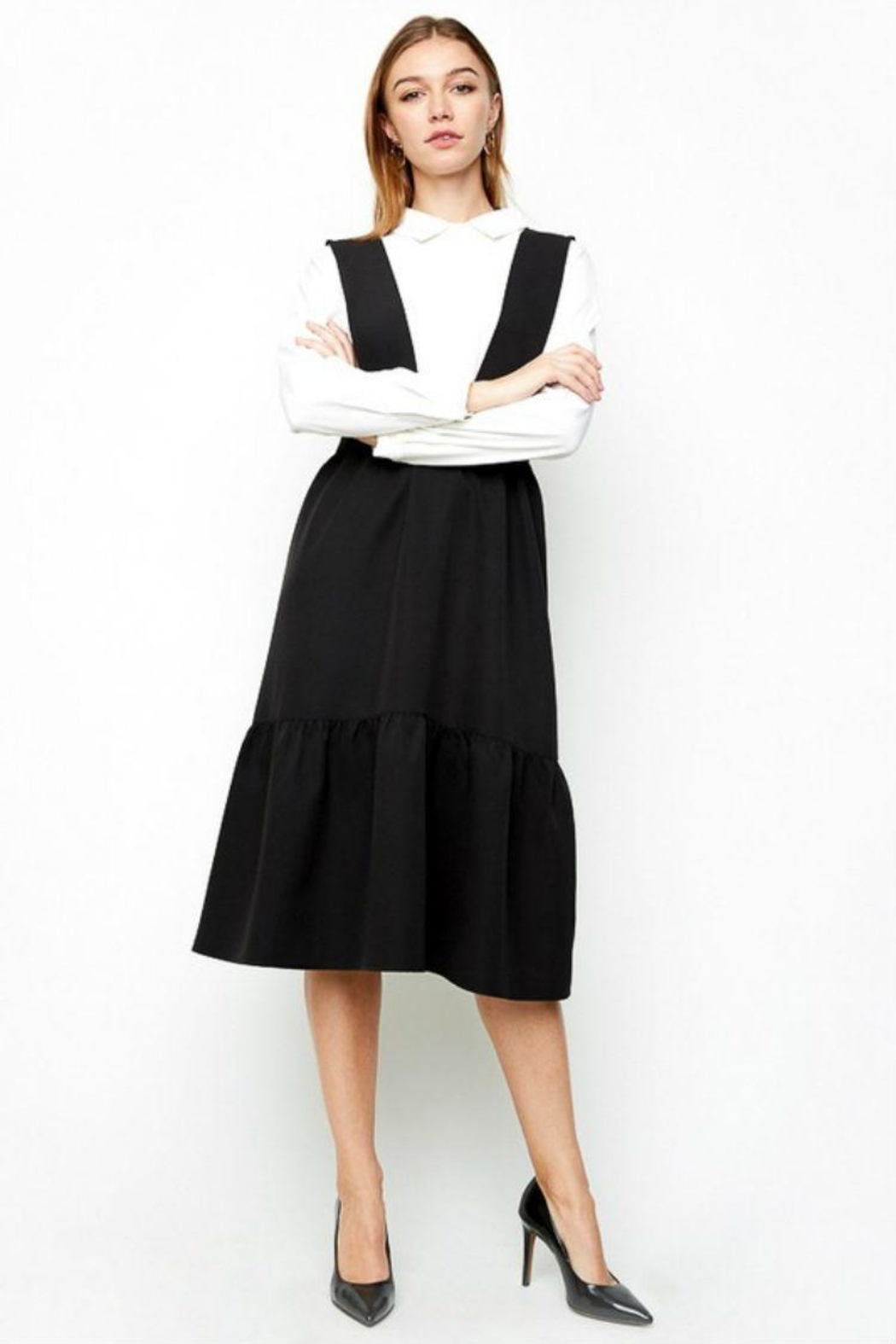 Hayden Los Angeles Tiered Overall Dress - Front Full Image