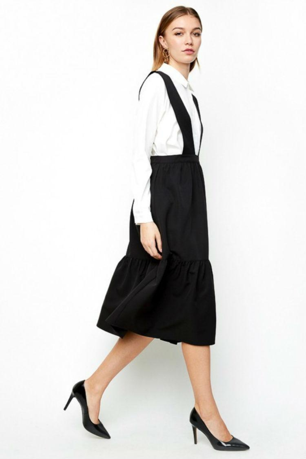 Hayden Los Angeles Tiered Overall Dress - Side Cropped Image
