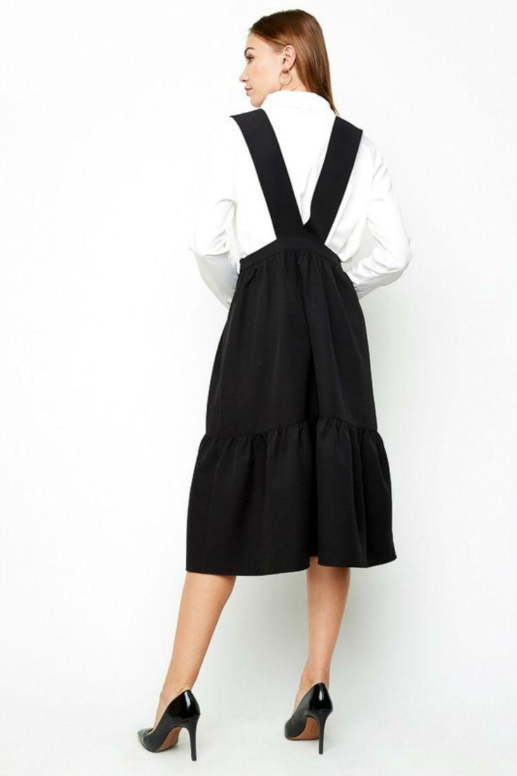 Hayden Los Angeles Tiered Overall Dress - Back Cropped Image