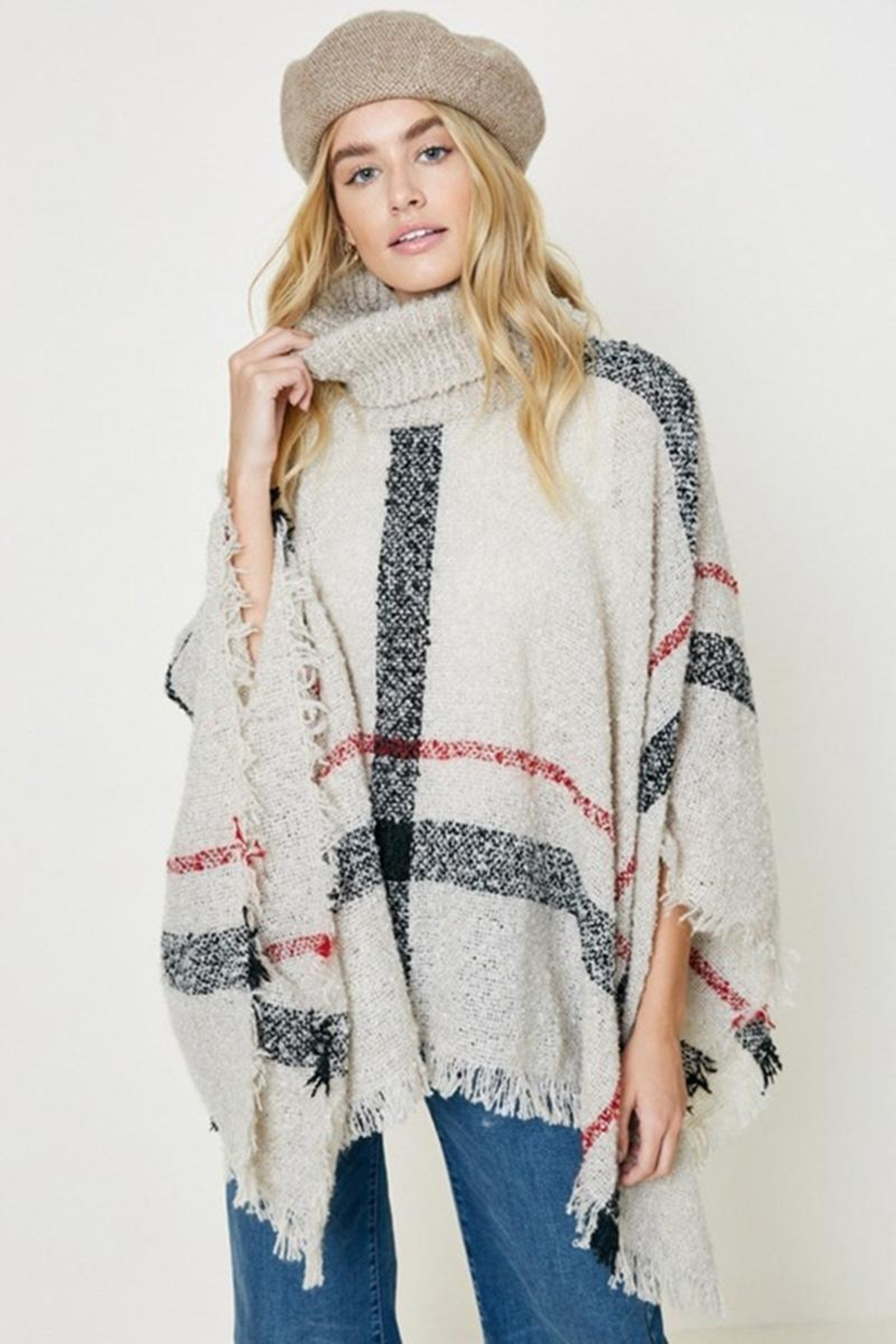 Hayden Los Angeles Turtleneck Sweater Poncho - Front Cropped Image