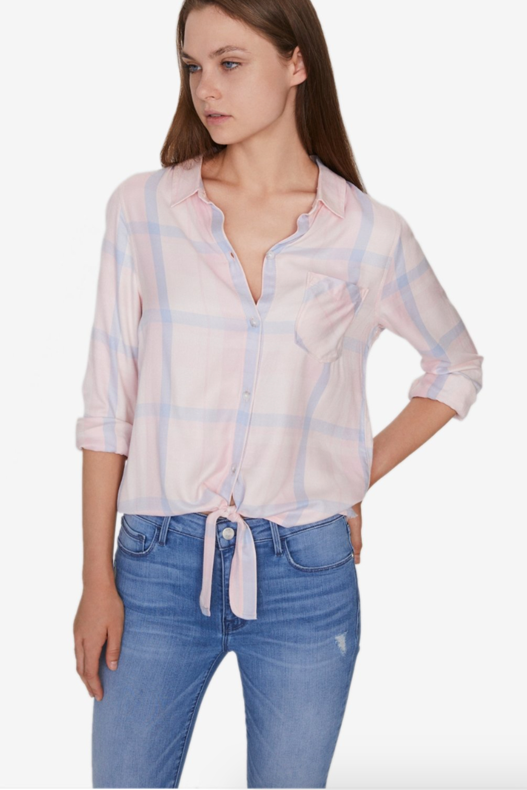 Sanctuary Hayley Tie Front Plaid Shirt - Side Cropped Image