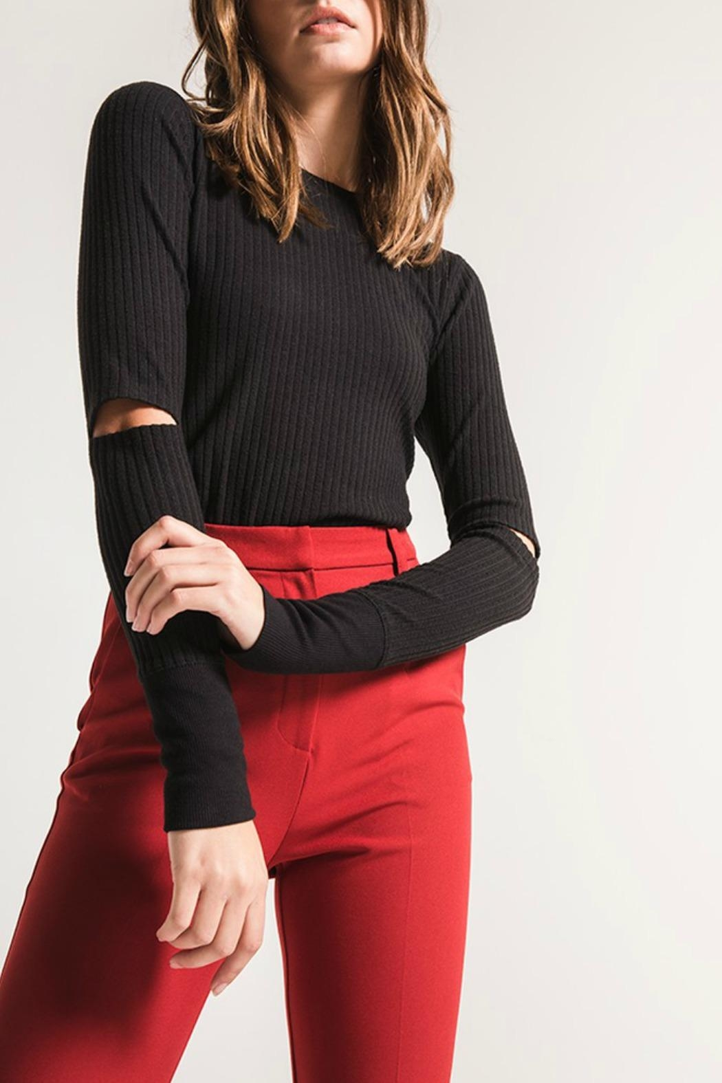 Black Swan Haylie Ribbed Top - Front Cropped Image