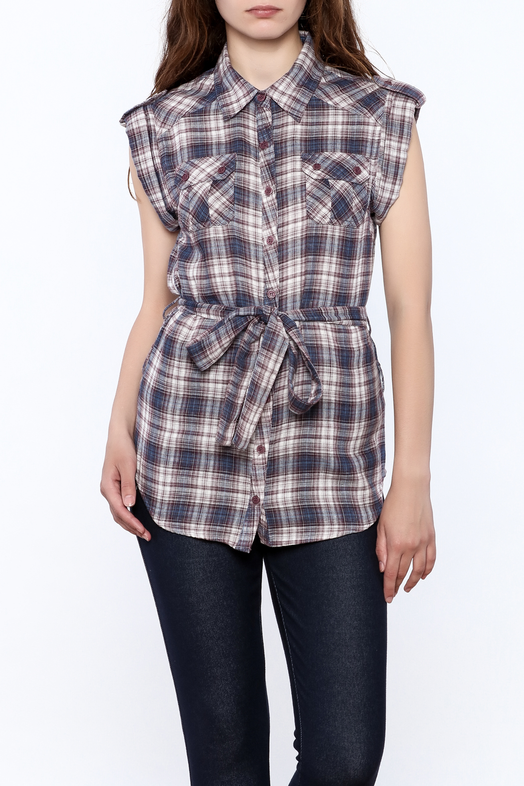 Hazel Plaid Print Tunic Top - Front Cropped Image