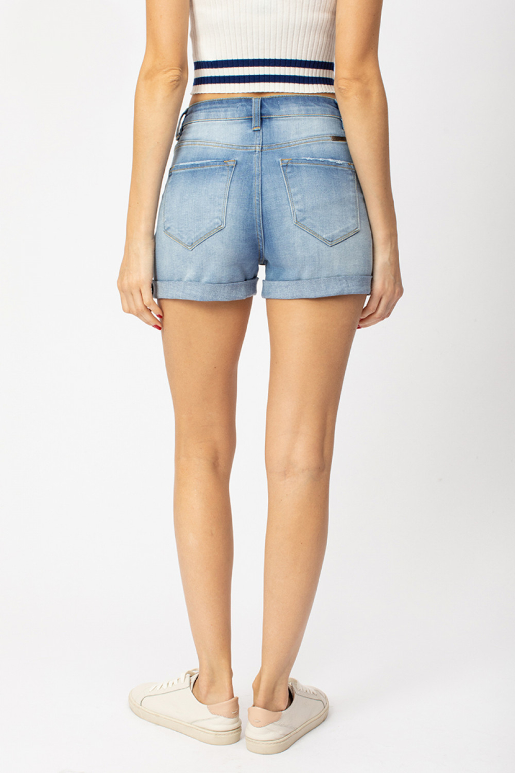 KanCan Hazel Cuffed High Rise shorts - Front Full Image